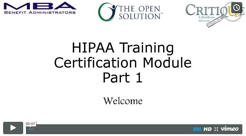 HIPAA Compliance Training Part 1
