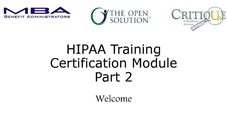 HIPAA Compliance Training Part 2