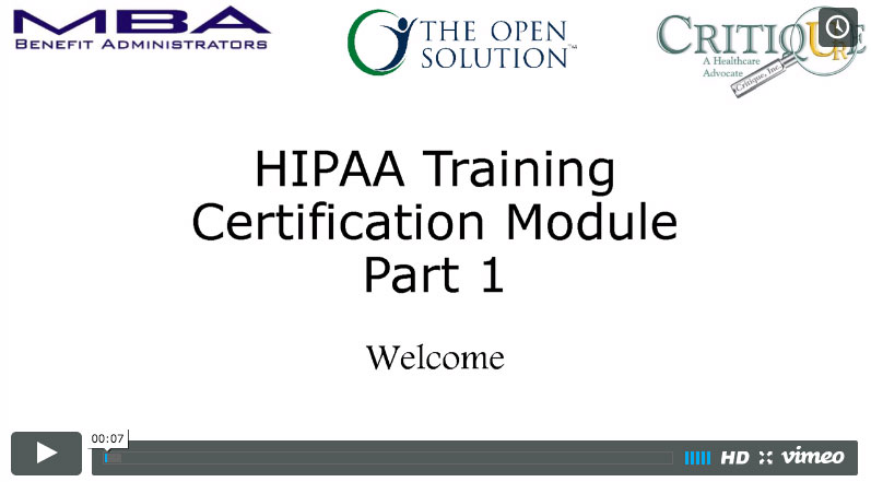 HIPAA Compliance Training Part 1