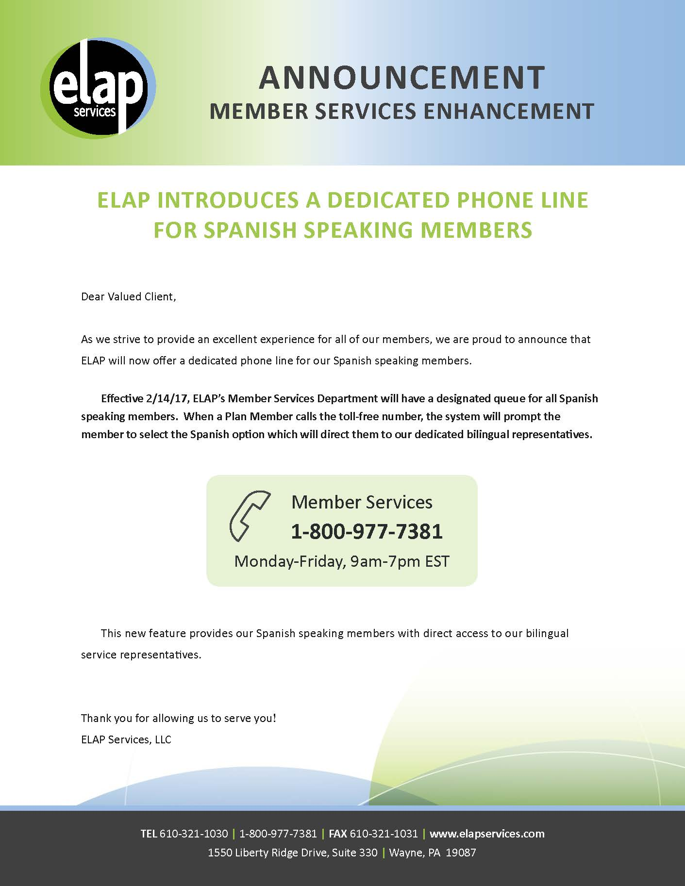 Customer Service Annoucement from ELAP_Bi-lingual Que