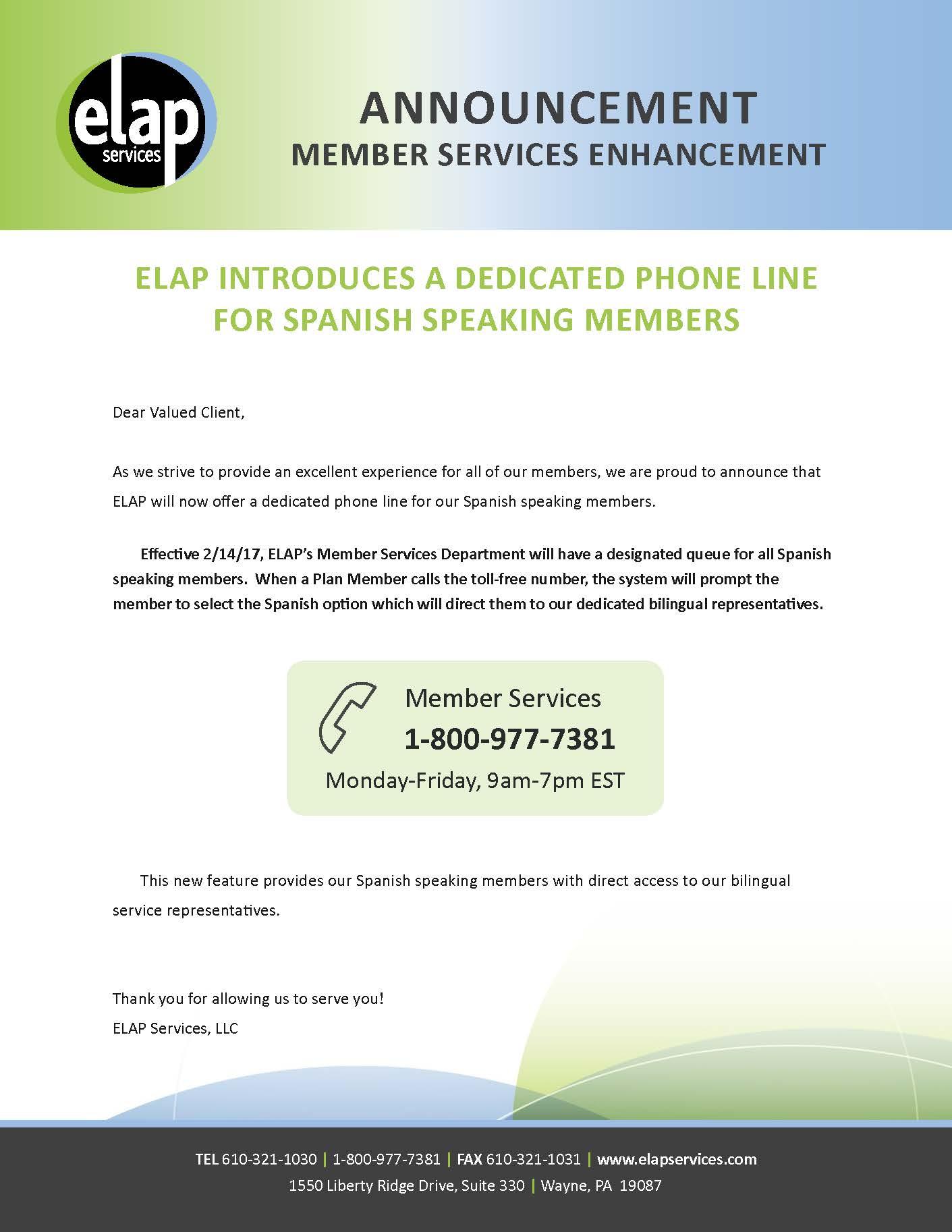 Customer Service Annoucement from ELAP_Bi-lingual Que
